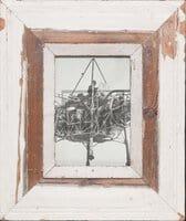 Vintage-Bilderrahmen mit breitem Holzrand für Fotos DIN A5