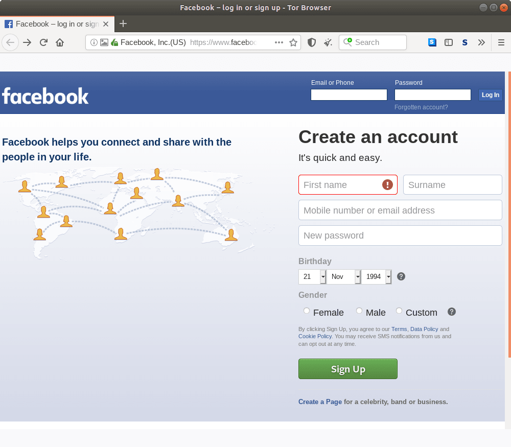 Onion homepage for Facebook.