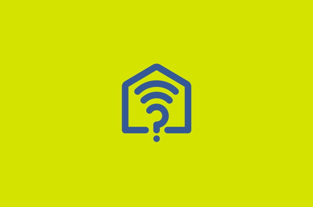 A Wifi signal in a house with a question mark.
