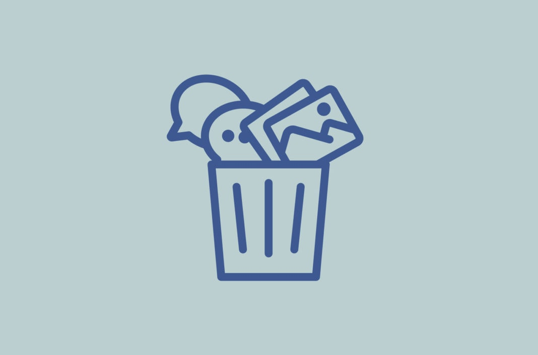 Trash icon filled with pictures and speech bubbles.