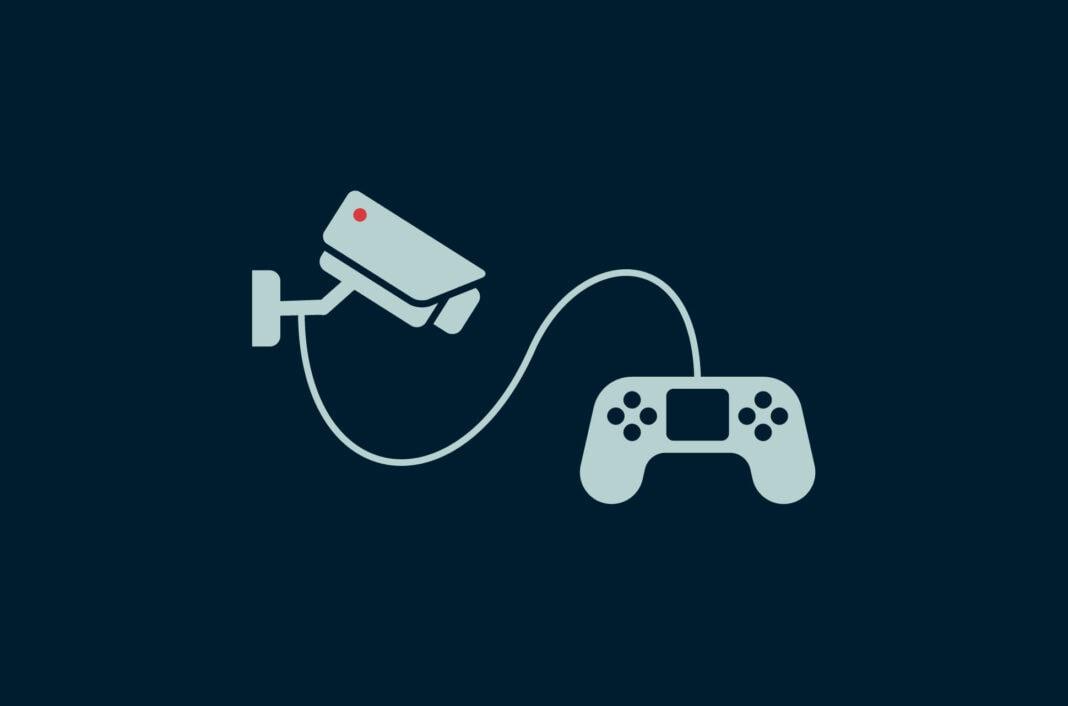 Video game controller and a surveillance camera.