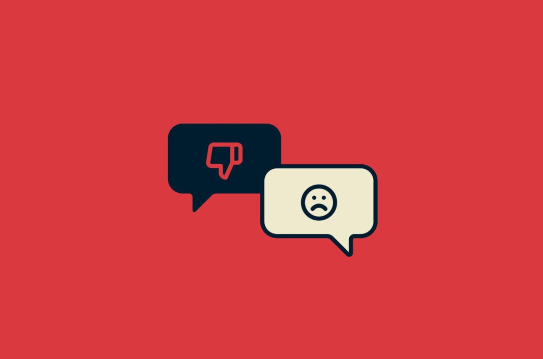 Speech bubbles with a thumbs down and frowning face.