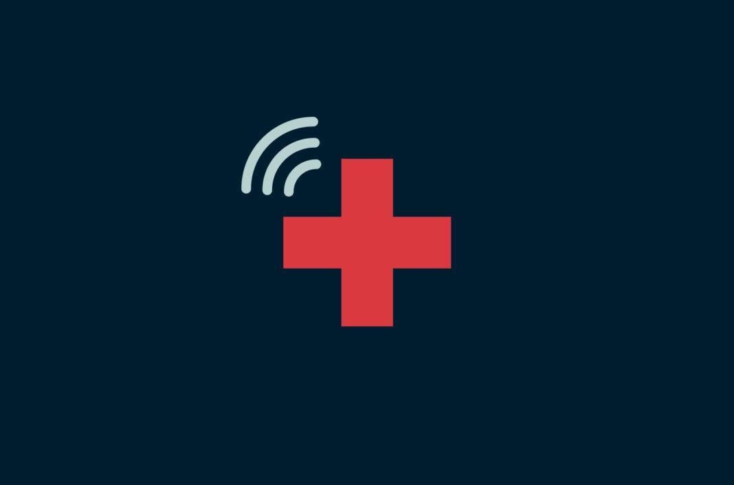 Cross health symbol with Wi-Fi signal.
