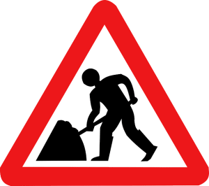 presenting a road worker