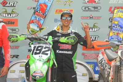jp alvarez next to his kx250 at the 2020 mesquite worcs race