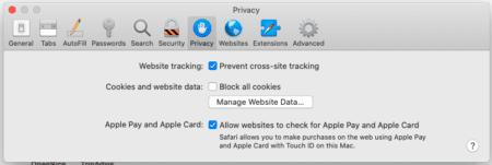 Screenshot of Safari Privacy options