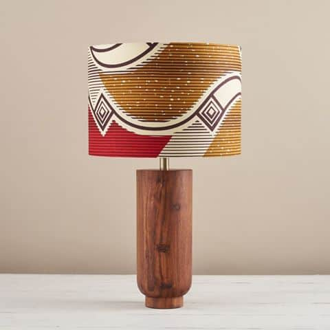 African Wax Print Lampshade - Red and gold waves