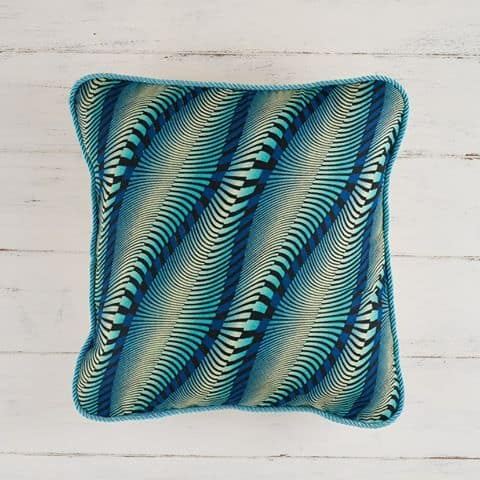 Pillow Cover African Print - Wavy Blue