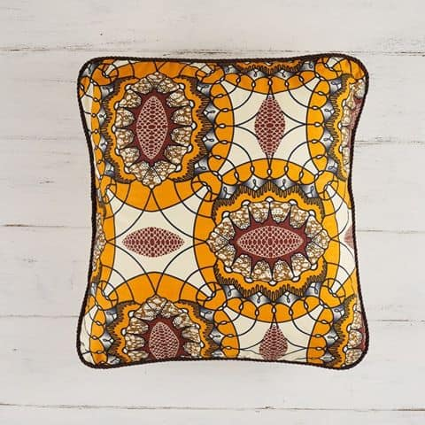 Pillow Cover African Print - Orange Circle Sunshine