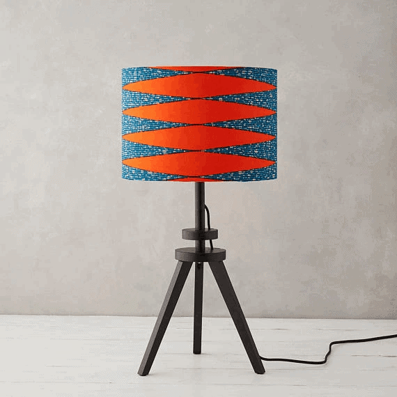 African Wax Print Lampshade - Burnt Orange Zig