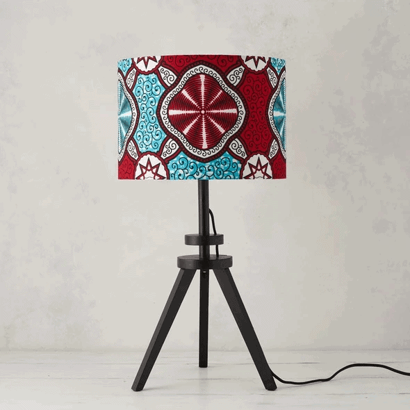 African Wax Print Lampshade - Red Marine