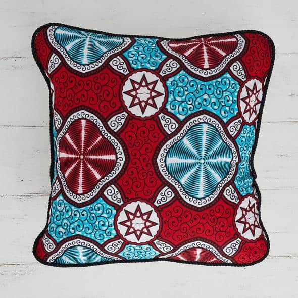 Pillow Cover African Print - Red Marine
