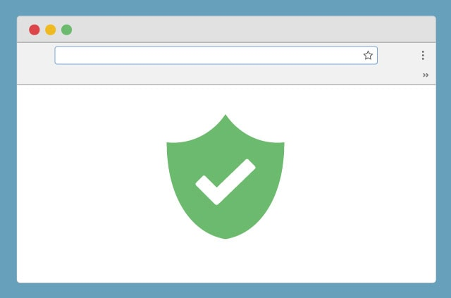 An illustration of a browser with a green shield in the center of the screen. But wait! Inside the green shield is a tick. Super protection: Whammo!