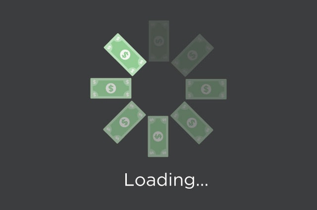 """Dollars forming a circular """"wait"""" icon above a """"Loading…"""" message. Without net neutrality, expect a slower internet."""