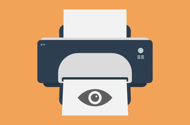 A printer with a surveillance eye.