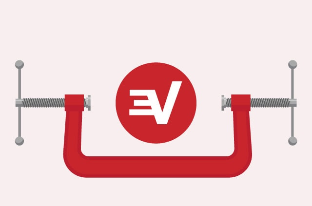 The ExpressVPN logo in a sturdy vice, to symbolize our sturdy security. We are are strong, like bear.