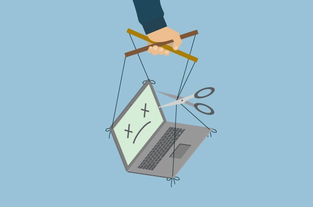 An illustration of a laptop held by puppet strings.