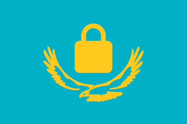 The Kazakhstan flag, except with a padlock where the sun should be.