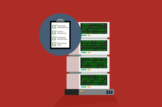 An illustration of a block of servers and a checklist on a notepad.