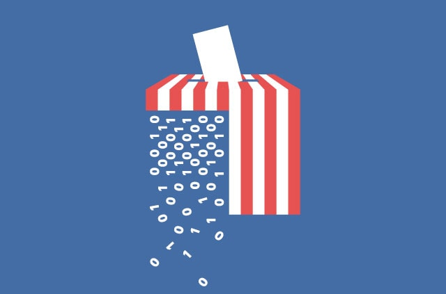 A ballot box with American flag stripes and falling code.