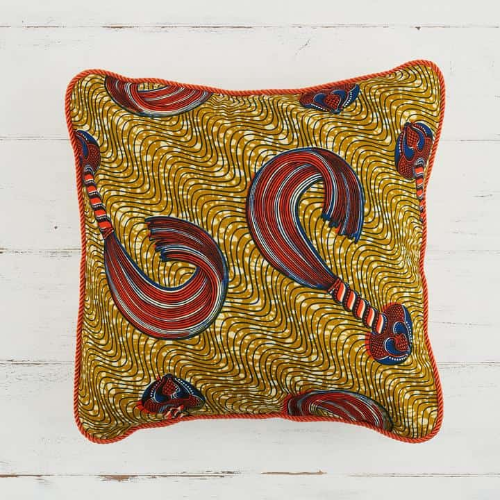 African Print Pillow Cover - Gold and orange whip
