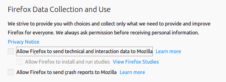 Firefox data collection options.