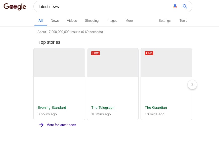 A screenshot of Google News showing blank snippets.