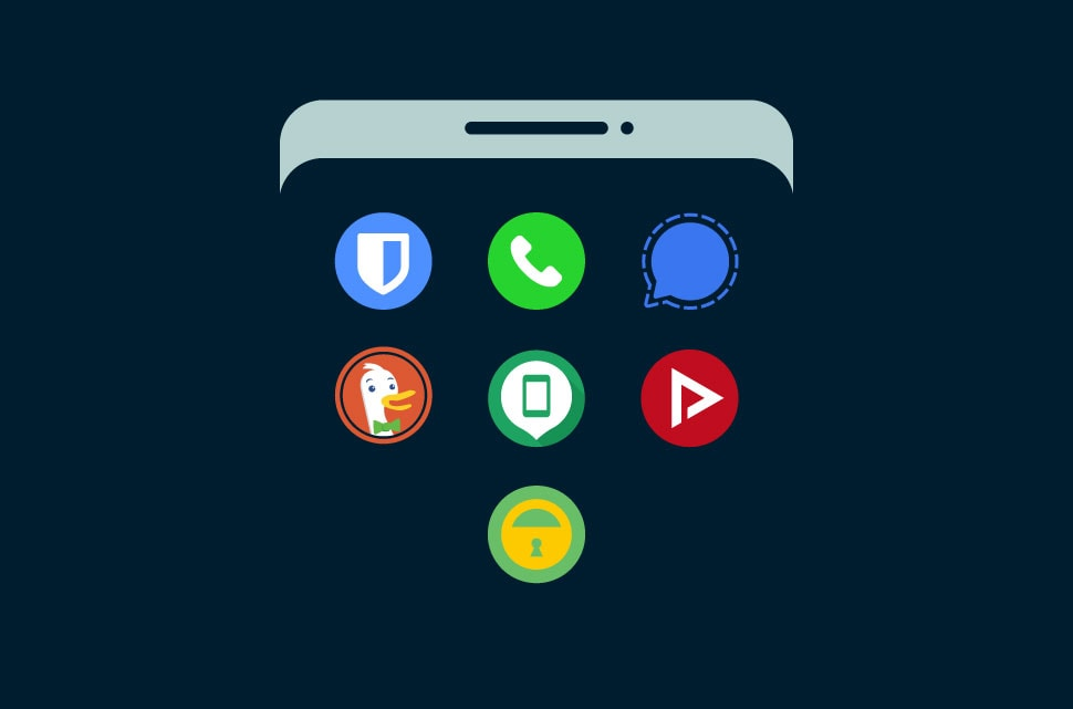 Security app icons on Android screen