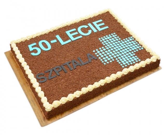 tort na 50-lecie szpitala w Ostrowie Wielkopolskim czekoladowy