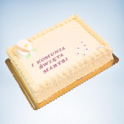 prostokatny tort na komunie