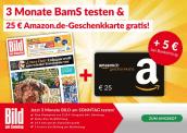 BILD am SONNTAG  3 Monate  + Amazon.de Gutschein im Wert von 25 Euro