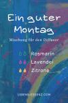 "Diffusormischung ""Guter Montag"": 2 Tropfen Rosmarin, 2 Tropfen Lavendel, 2 Tropfen Zitrone"