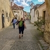 People in the historic town of Duernstein in the Wachau valley