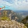 Rax mountain hiker enjoys view into valley