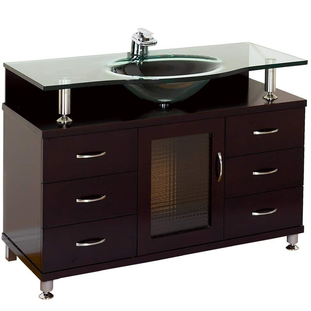 Accara 42 Bathroom Vanity - Espresso with Clear Glass Counter