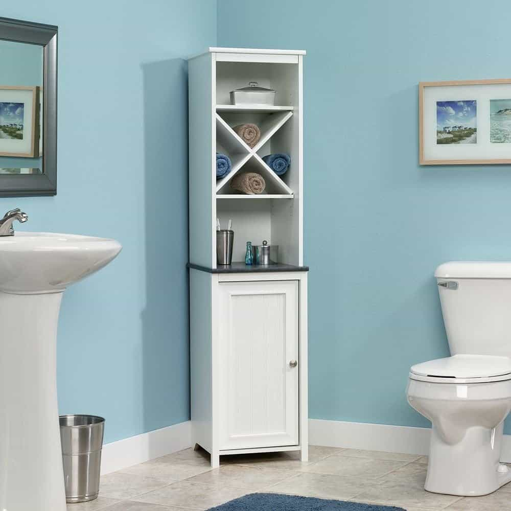 Sauder Linen Tower Bath Cabinet, Soft White Finish