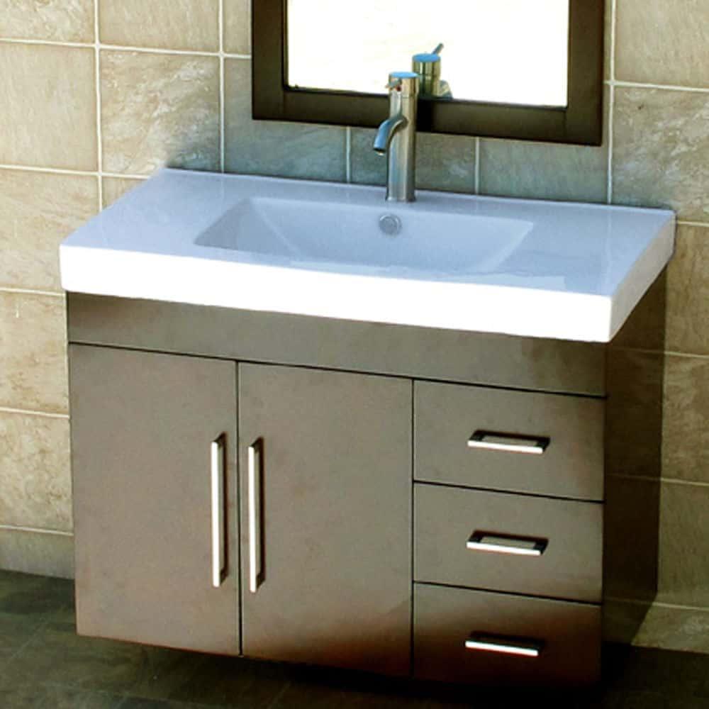 "36"" Bathroom Wall Mounted Vanity Cabinet Dark Cherry Color + Ceramic Top Sink"