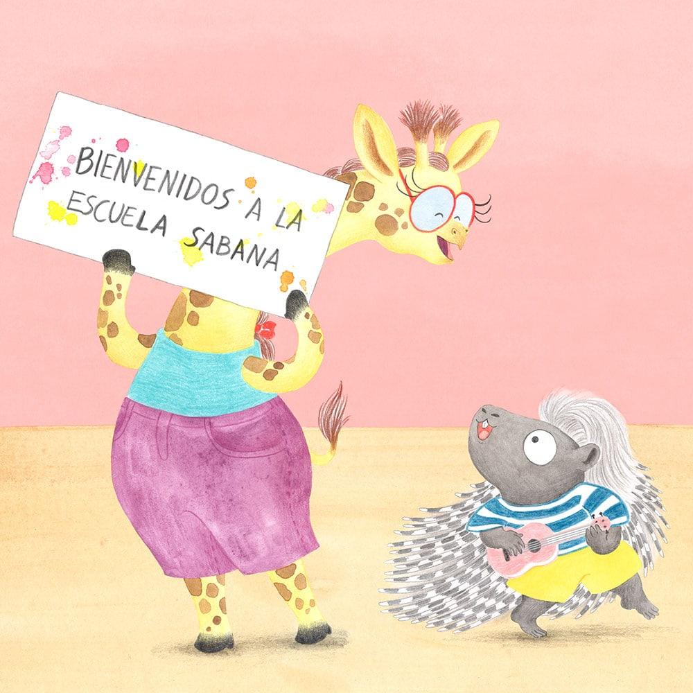 Julia & Paco, Beascoa, Begoña Oro, ilustración de animales, ilustración infantil, ilustración de animales africanos, ilustración de jirafa, ilustración de puercoespín,