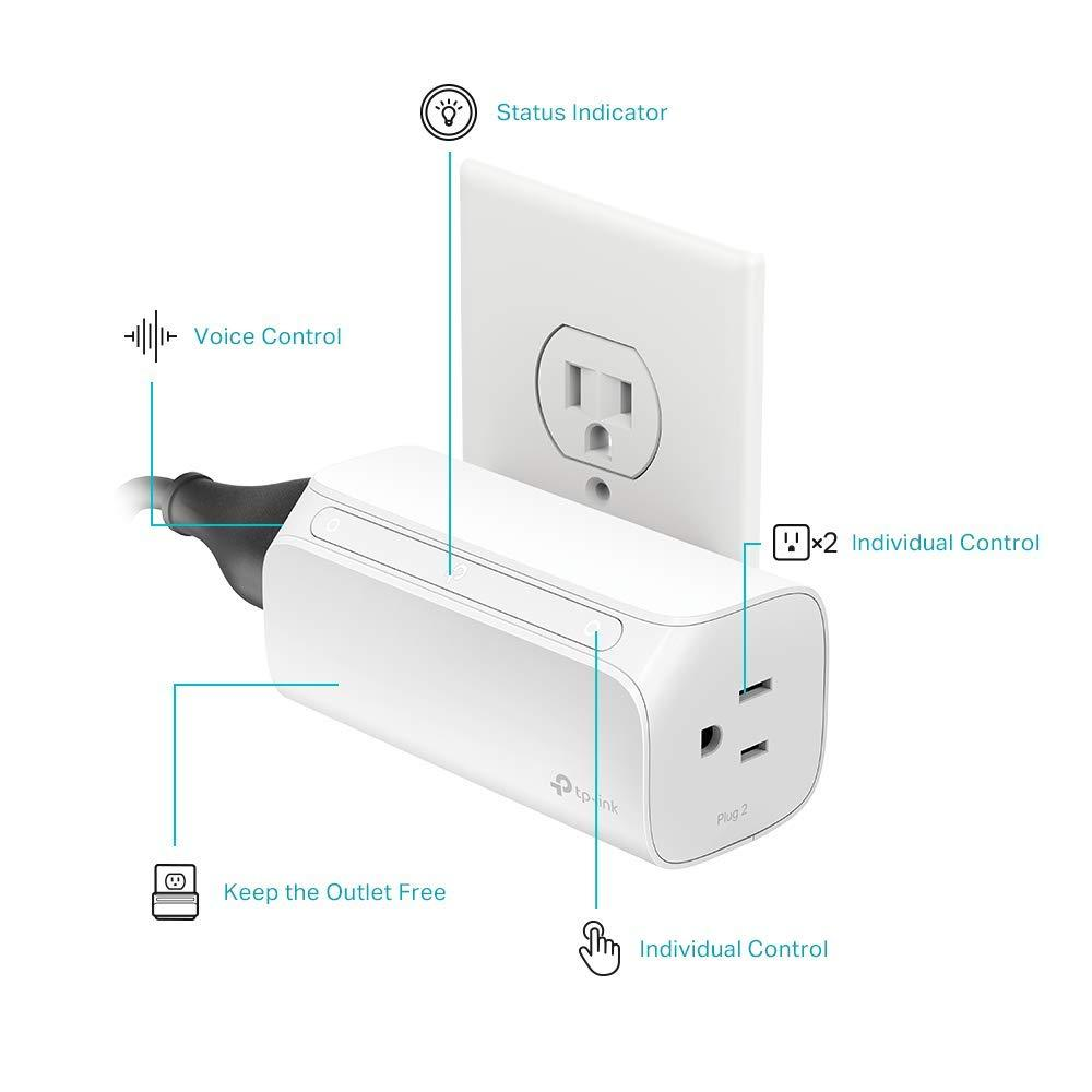 TP-Link HS107 - Ổ cắm điện thông minh 2 trong 1 Kasa 2-Outlet Smart Wi-Fi Plug