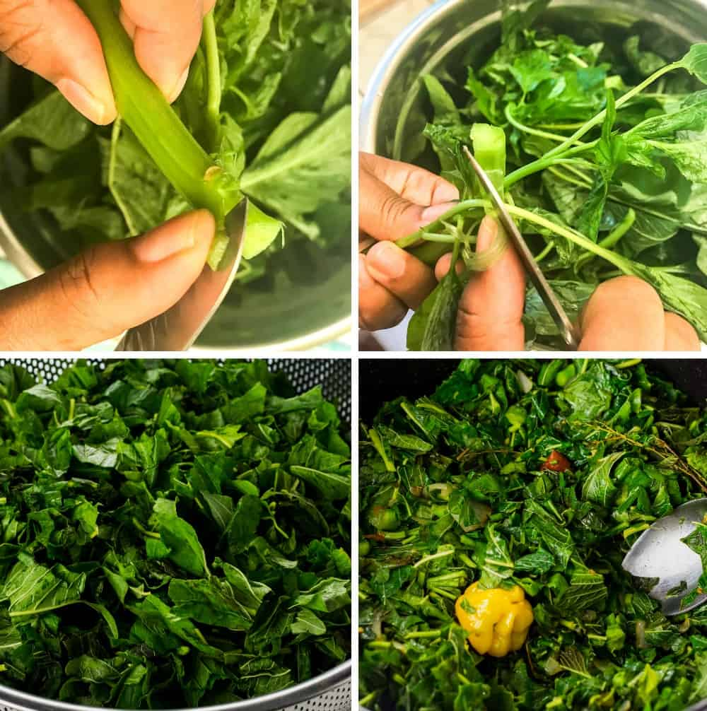 Step by Step Photos of how to prepare callaloo