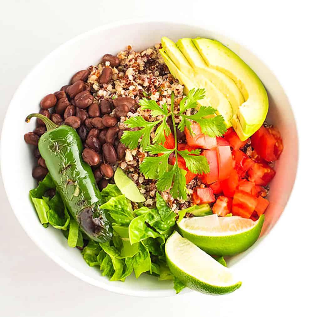Vegan Cilantro Quinoa Burrito Bowl