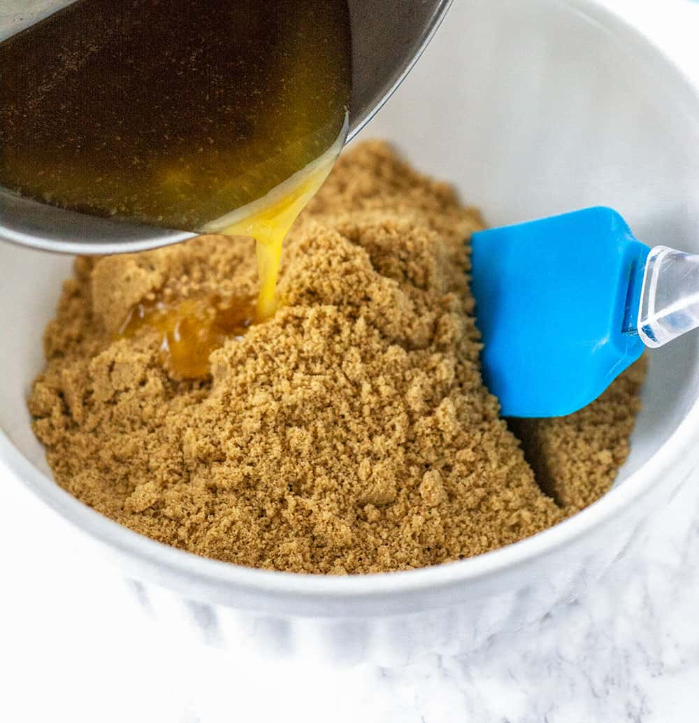 Graham Cracker Crust ingredients, graham crumbs, melted butter, maple syrup