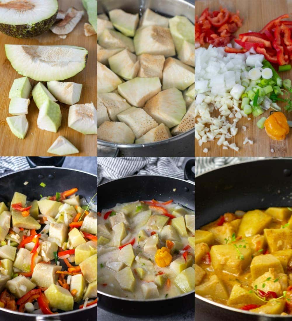 How to make breadfruit rundown step by step photos, peeled breadfruit, chopped breadfruit, seasoning