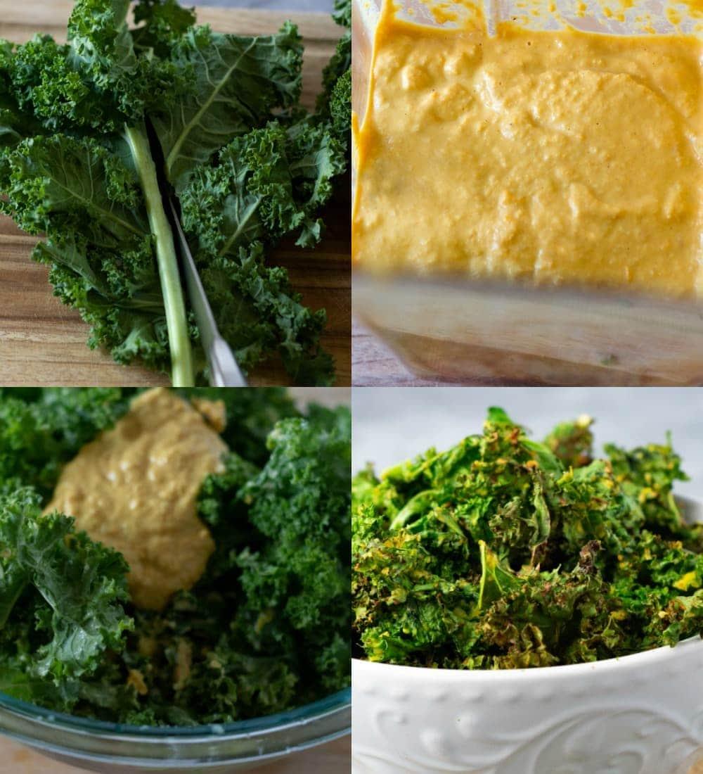 Steps for making air fryer kale chips