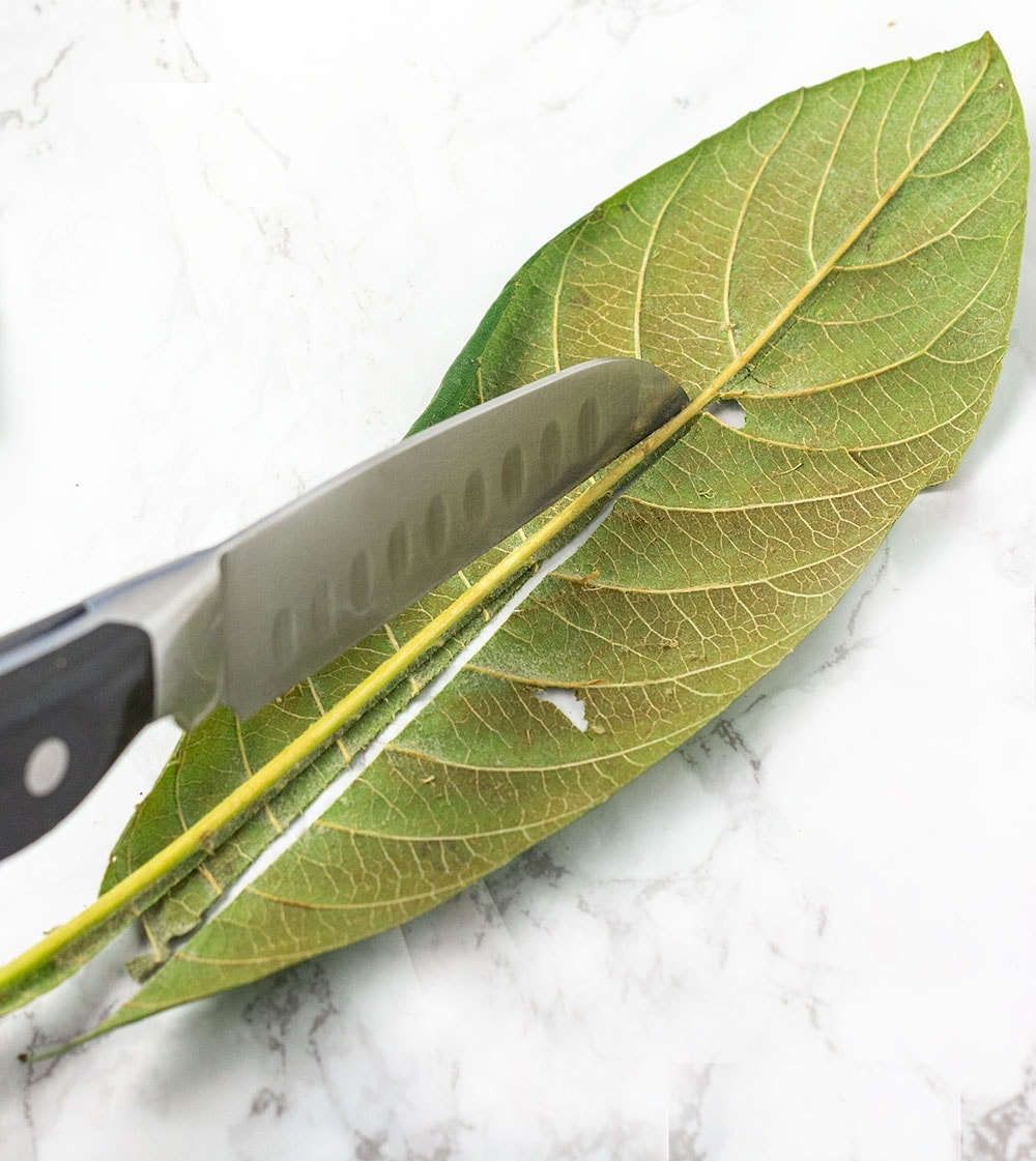 Remove the veins of the loquat leaf with a knife