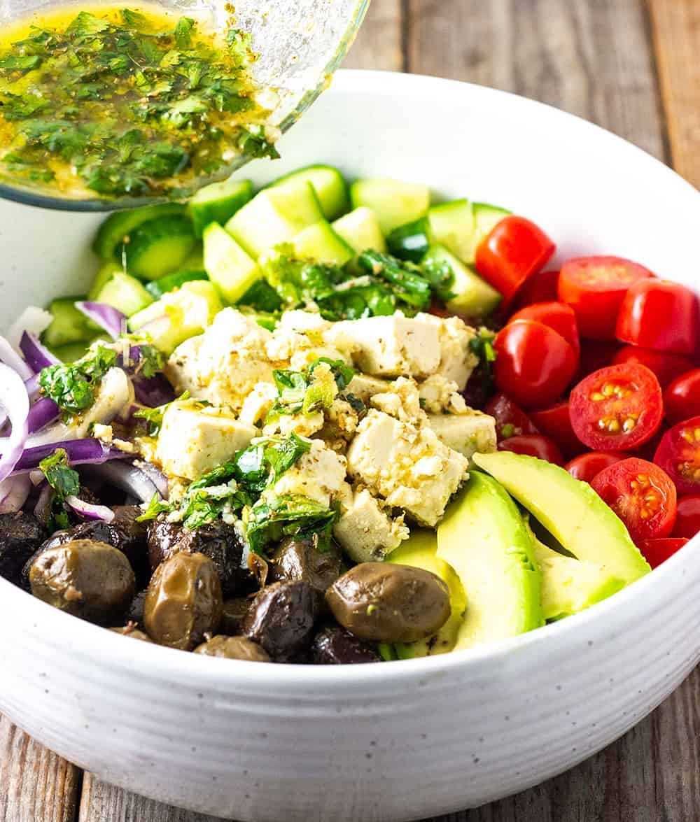 Greek salad with green-seasoning