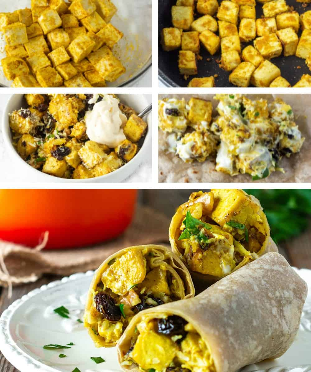 Step by step curried tofu wraps on a collage