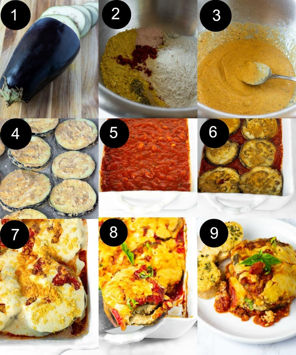 Vegan eggplant parmesan steps