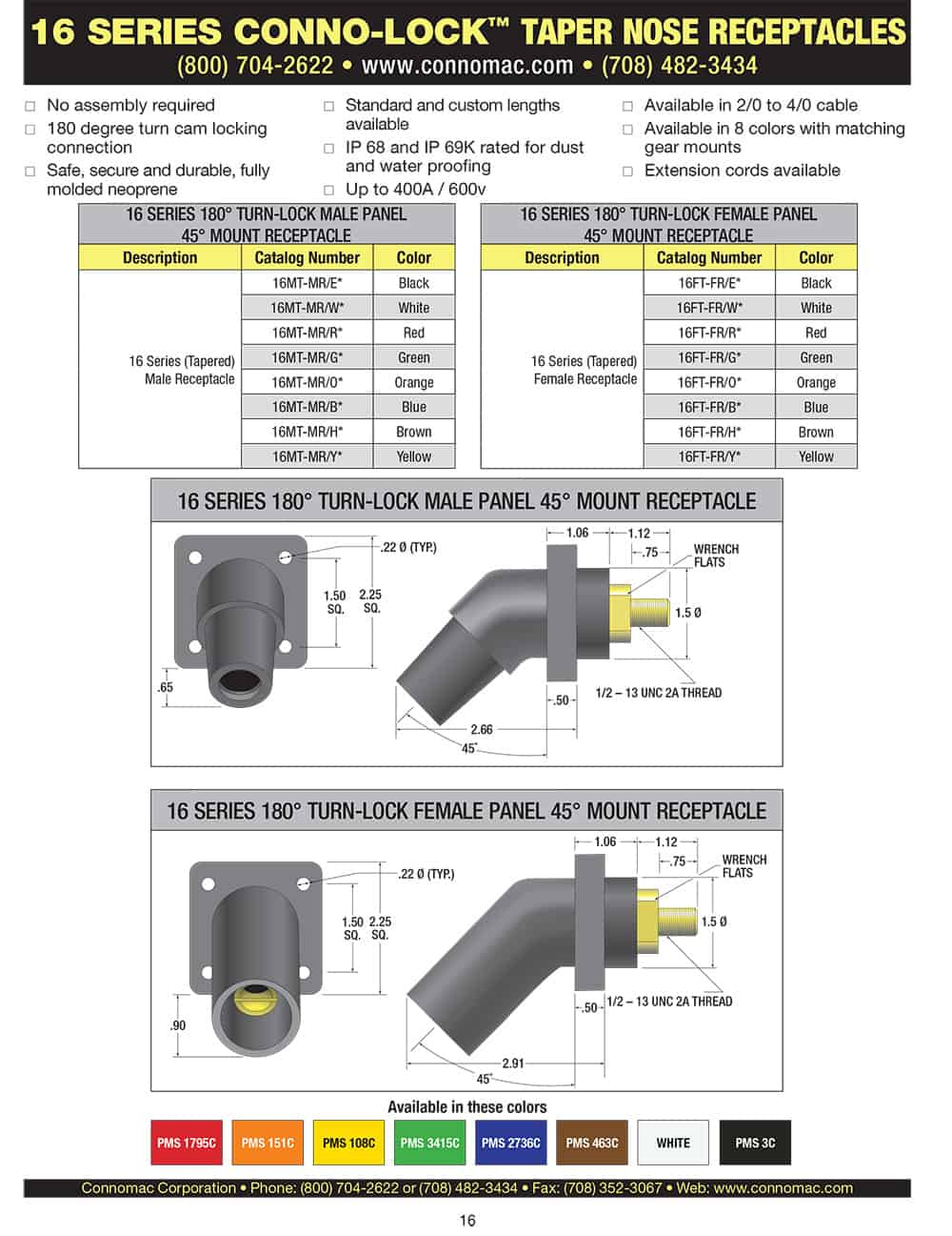 Conno Lock 16 series taper nose receptacles spec sheet page 2