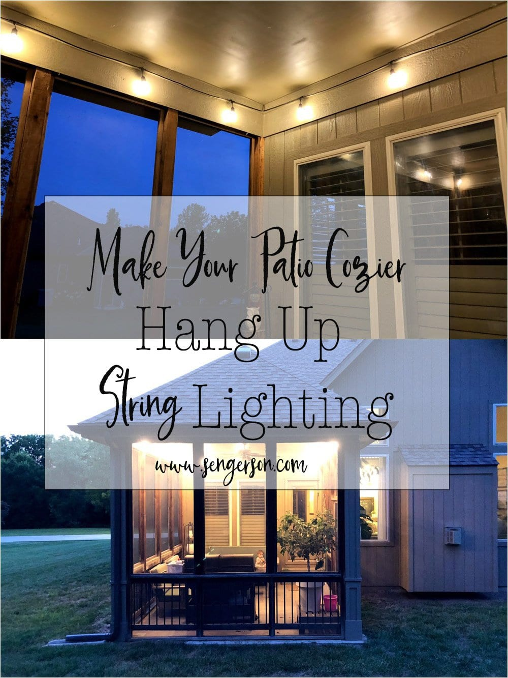 How to Hang String Lights on Covered Patio or Deck featured by top US DIY blogger, Sengerson: Considerations when hanging stright lighting outside as an extension to your living space